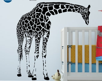 Giraffe decal, giraffe decor, giraffe decorations, giraffe wall decal, giraffe wall art, giraffe wall decor, giraffe wall sticker, D00103