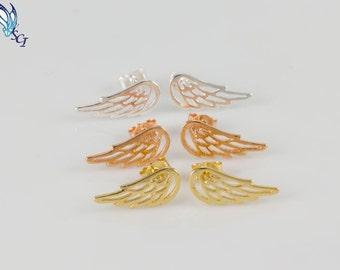 Angel Wing Stud Earrings, Sterling Silver, Gold Plated, Rose Gold Plated, Angel Wing Jewelry, Unique Earring, Wing Studs, Angel Stud, SER314