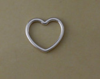Sterling Silver Small Heart Charm, Jewelry Charms, Charm Findings, Cutout Heart Charms, Valentine's Day Heart, Bulk Heart Charms, CM145H