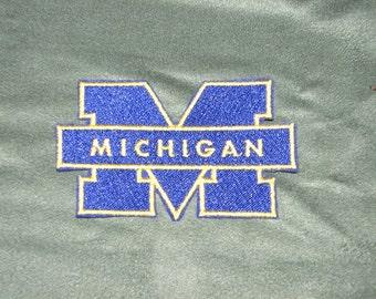U of M Michigan Michigan University Iron on No Sew Embroidered Patch Applique
