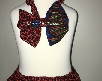 Red African Print Skirt Set
