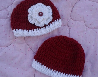 Crochet baby boy or girl dark red and white hat, Alabama hat, Christmas hat, childs Alabama beanie, maroon & white, boy or girl Christmas