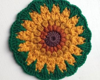 Crocheted Sunflower Potholder Hotpad Decoration