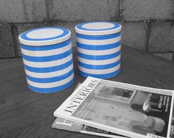 Blue Stripe Kitchen Storage Tins 1960s 1970s Vintage Cans