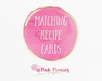 Matching Recipe Cards Custom Recipe Cards Digital Matching Invitation Bridal Shower Recipe Cards