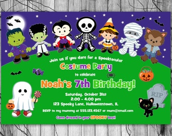 HALLOWEEN Birthday Party Invitation, Kids Halloween Invitation PRINTABLE, Costume Party Invitation, Halloween Party Invitation Invite Boy
