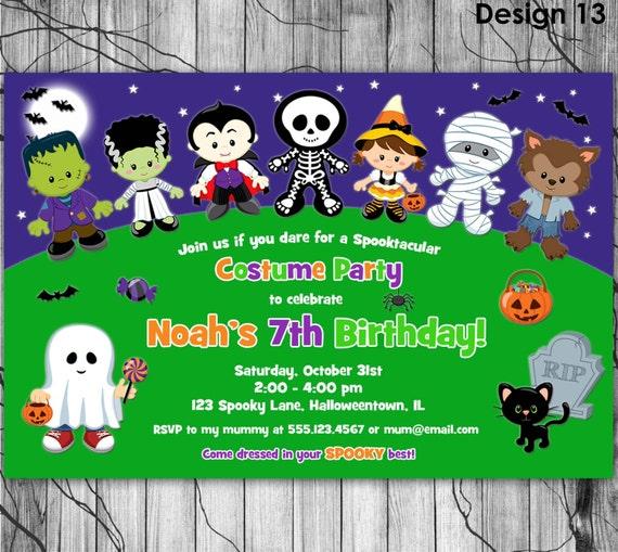 HALLOWEEN Birthday Party Invitation Kids Halloween Invitation – Costume Party Invitation Ideas