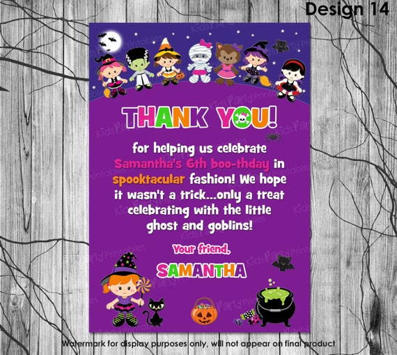 HALLOWEEN Birthday Thank You Card PRINTABLE Halloween Thank