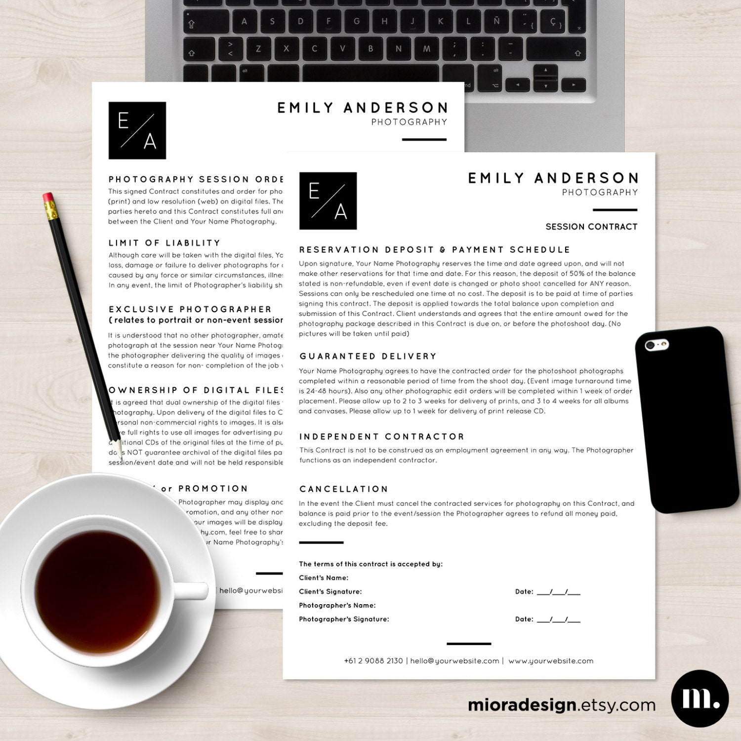 session contract form msword and photoshop template for
