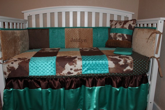 Crib Bedding Set Turquoise and Brown Cowhide Western Embossed