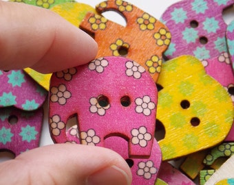 Elephant 10 buttons made of wood ideal for baby cardigan children knits sewing scrapbooking craft varnished wooden button washable