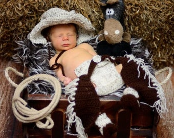 Sweet baby set - crochet reborn Preemie, newborn -, photo shooting, cowboy