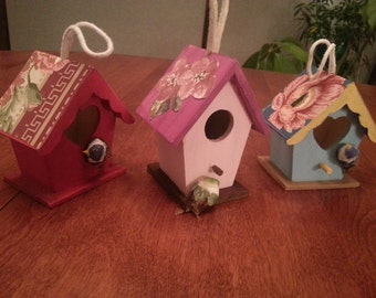 Hand-painted wooden birdhouses