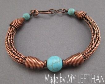 Turquoise Copper dangle Bracelet Viking knit bracelet wire wrap Turquoise bracelet Antiqued copper bracelet Turquoise jewelry Viking jewelry