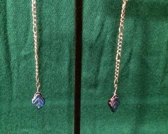 Handmade Blue Black Glass Leaf Earrings