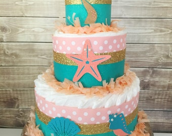 Mermaid Diaper Cake in Coral, Teal and Gold, Mermaid Theme Baby Shower Centerpiece