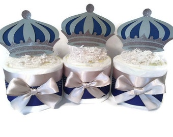 Set of 3 Prince Mini Diaper Cakes in Royal Blue and Silver, Prince Theme Baby Shower Centerpiece