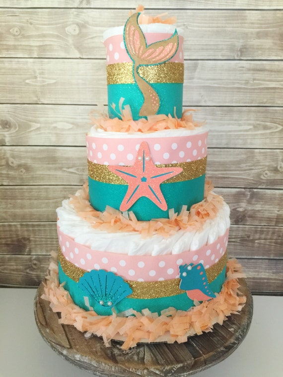 mermaid diaper cake in coral teal and gold mermaid theme baby shower