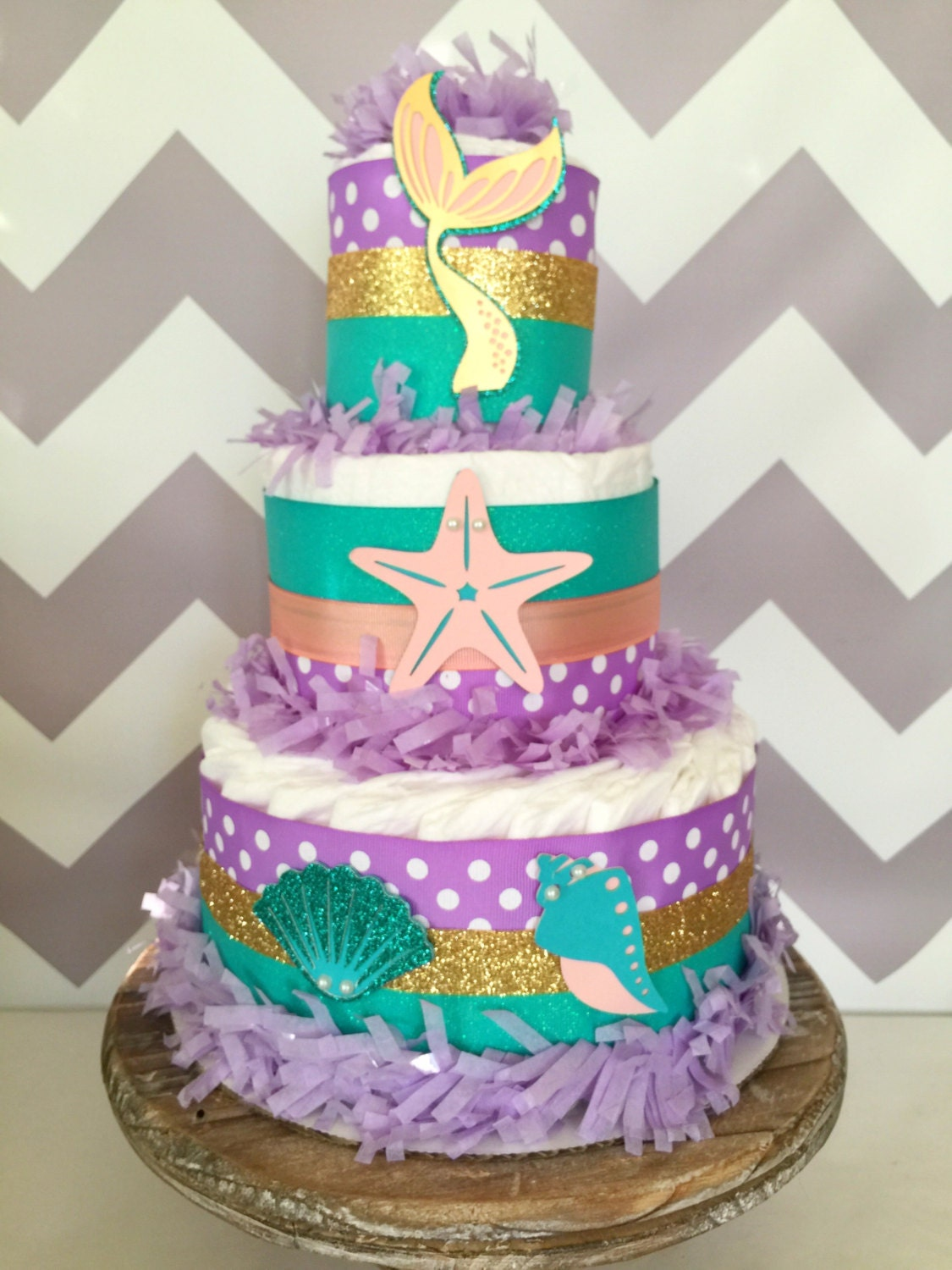Mermaid diaper cake under the sea baby shower centerpiece for Baby shower cakes decoration