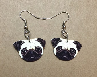 Pug Earrings Nickel Free Fishhooks- Dog, Dog Breed, Pug Dog, Dog Lover, Gifts for Her, Fur Baby, Dog Gift, Pet, Pet Jewelry, Pet Earrings