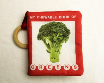 """Cloth baby book with organic cotton option """"My Chewable Book of GREENS"""""""