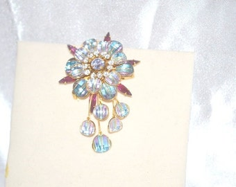 Blue Plaid Checkerboard Flower Brooch