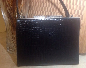 Vintage Artcraft Alligator Handbag, 1950s Genuine Alligator Black Leather Handbag, An Artcraft Handbag