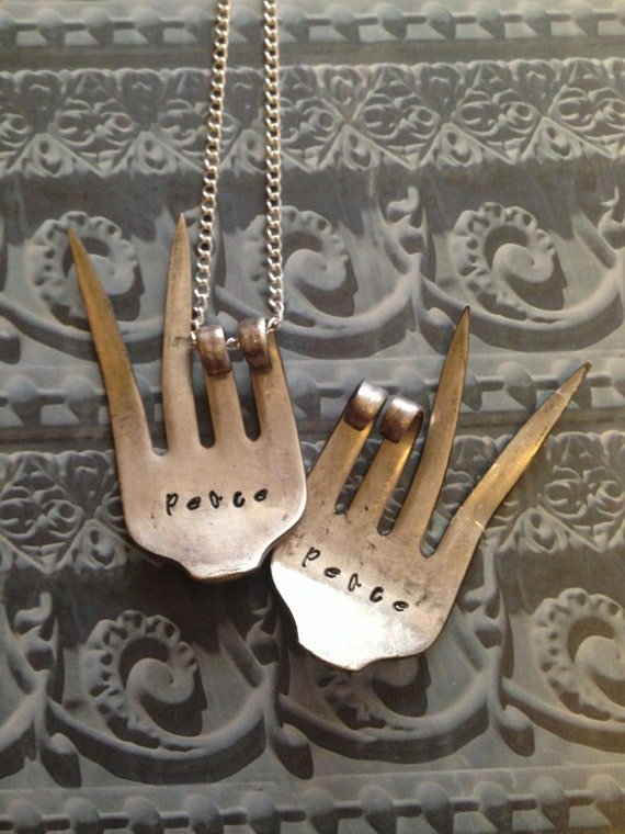 "Upcycled fork necklace...""Peace"" vintage fork necklace...vintage silverware...Necklace fork...handstamped with peace"