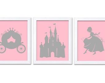 Pink Gray Grey Princess Nursery Art Set of 3 Prints Child Art Kids Room Wall Art Baby Girl Decor Baby Castle Carriage