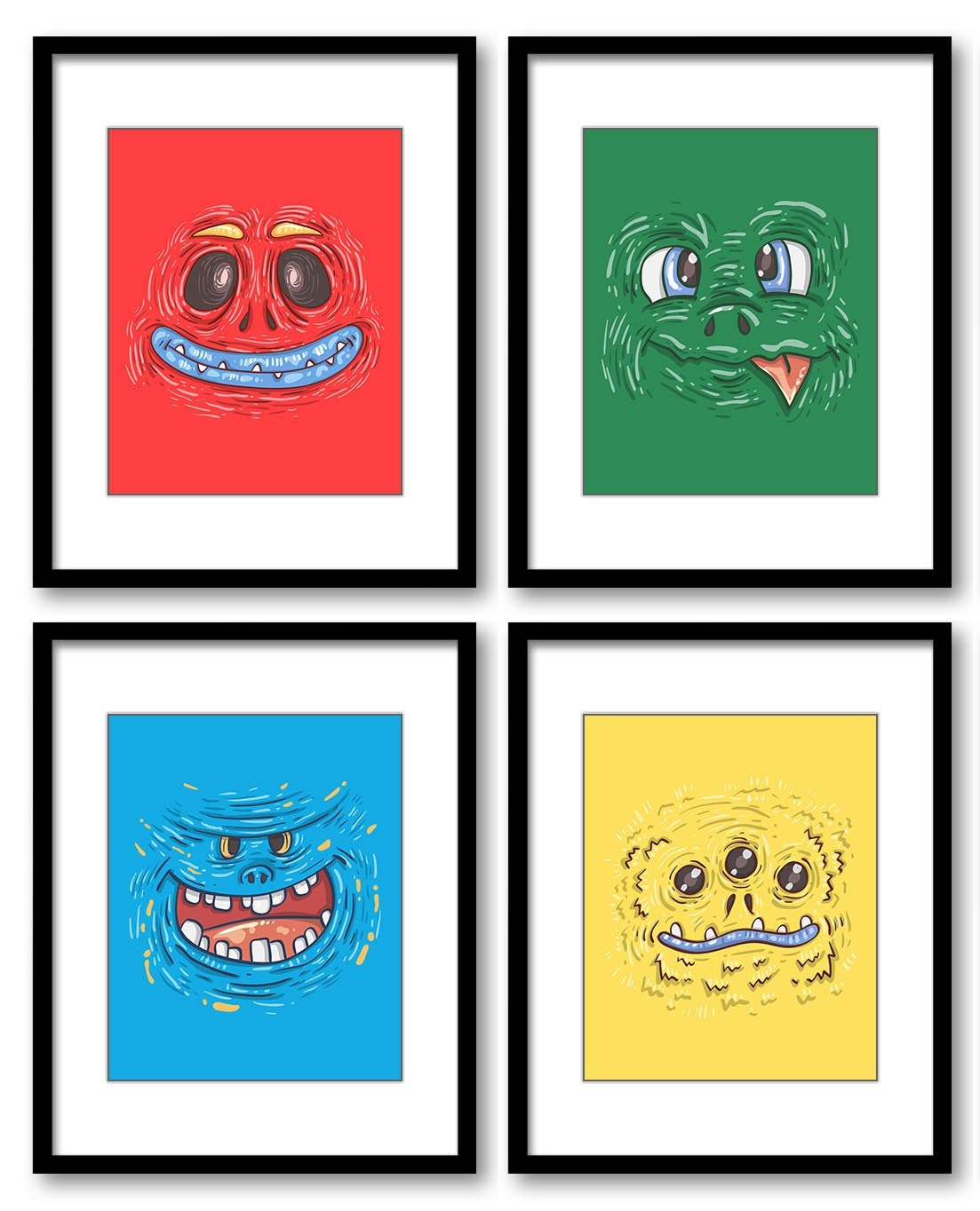 Colorful Monsters Nursery Art Set of 4 Prints Boy Child Kid Boy Room Wall Decor Red Blue Green Yello
