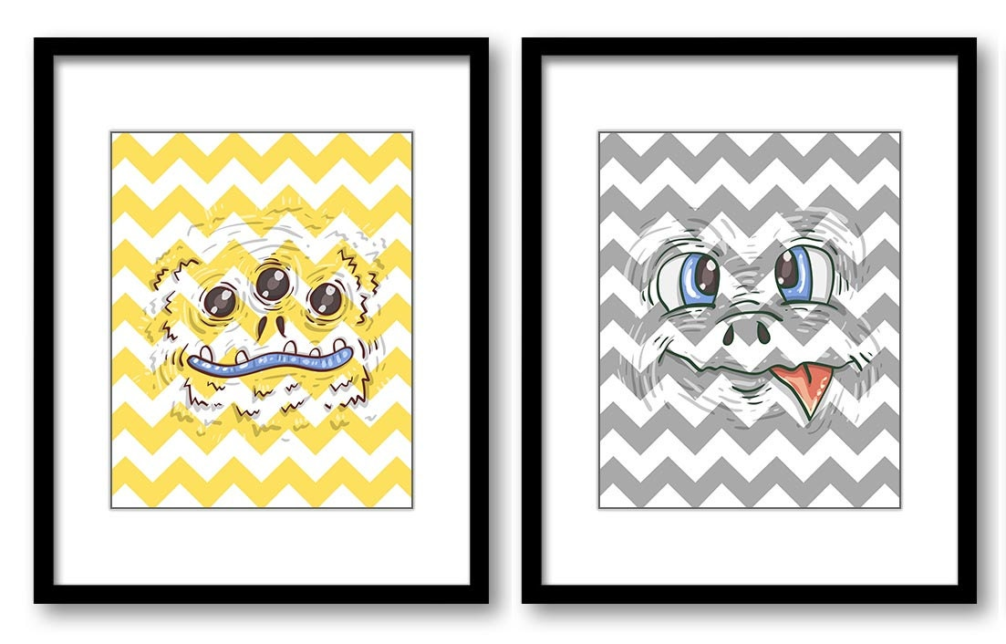 Yellow Grey Monsters Nursery Art Set of 2 Prints Boy Child Kid Boy Room Wall Decor Chevron Gray Mons
