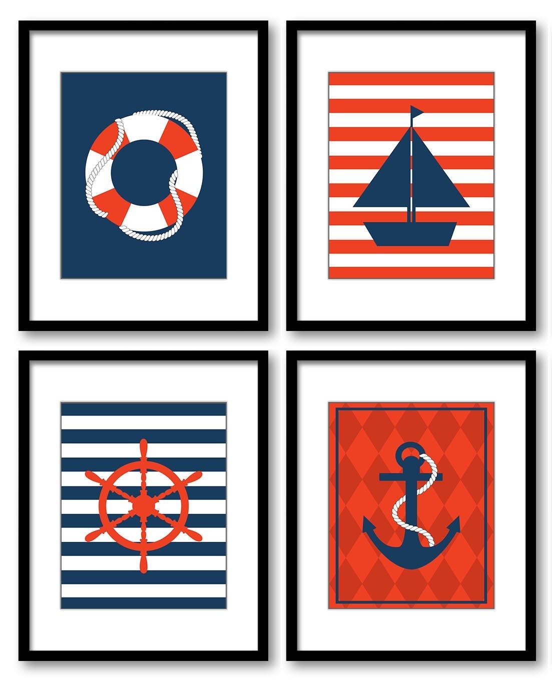Nautical Nursery Art Set of 4 Prints Red Navy Blue Child Kid Boy Room Wall Decor Sailboat Anchor Cap