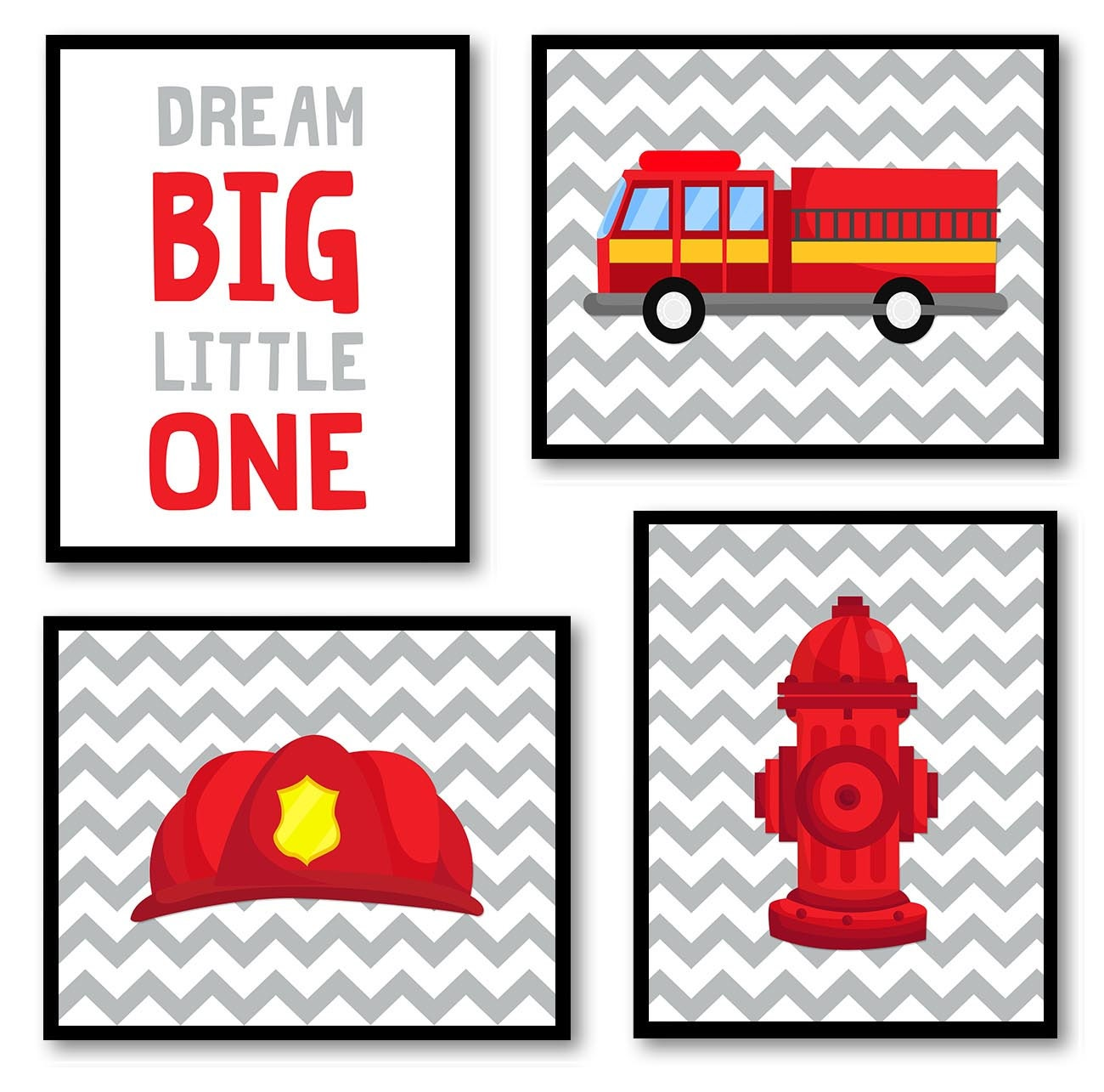 Fireman Nursery Art Set of 4 Prints Red Black Yellow Grey Dream Big Little One Child Kid Boy Room Wa