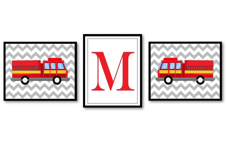 Fire Truck Nursery Art Set of 3 Prints Red Black Yellow Grey Letter Monograhm Child Kid Boy Room Wal