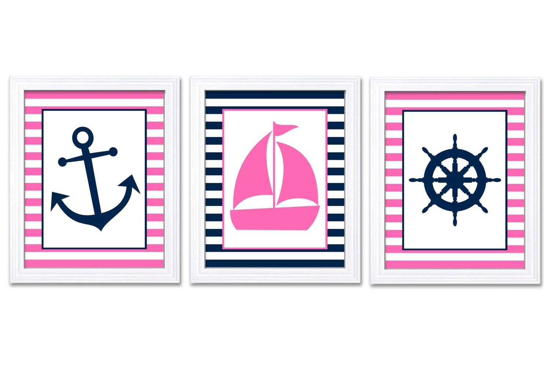 Nautical Nursery Art Ocean Marine Pink Navy Blue Girl Art Print Sailboat Captain Wheel Anchor Nurser