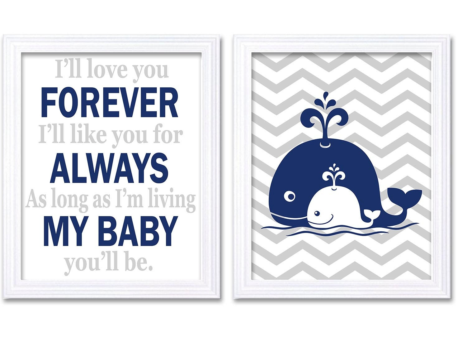 Navy Blue Grey Whale Nursery Art Set of 2 Prints Ill love your Forever Ill like you for Always As lo