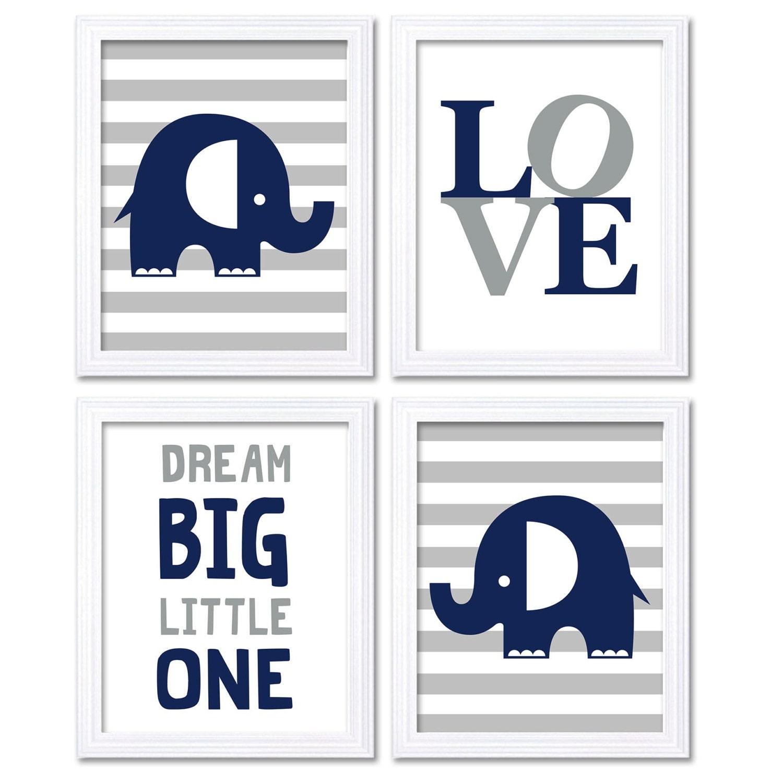 Navy Blue Grey Elephant Nursery Art Dream Big Little One LOVE Set of 4 Prints Stripes Child Art Kids