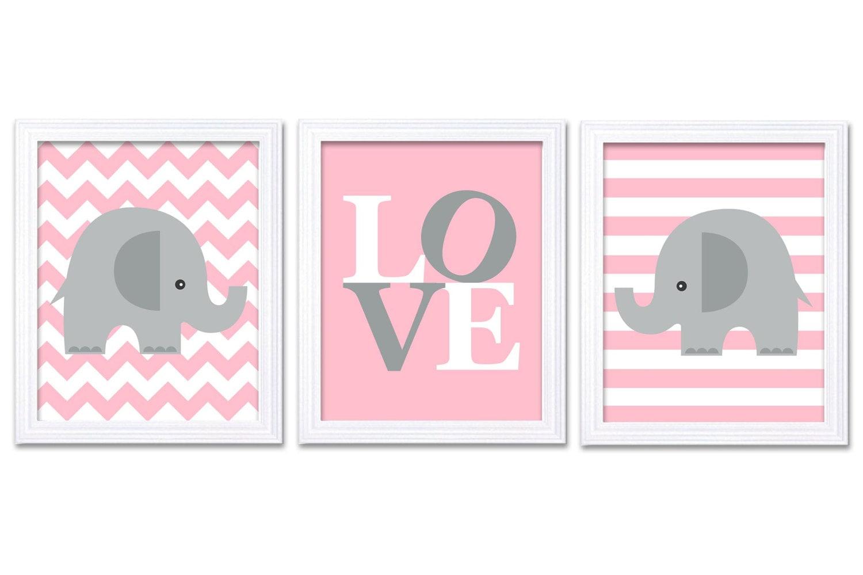 Pink Gray Grey Elephant Nursery Art LOVE Set of 3 Prints Stripes Chevron Child Art Kids Room Wall Ar