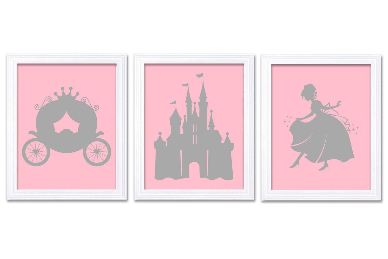 Pink Gray Grey Princess Nursery Art Set of 3 Prints Child Art Kids Room Wall Art Baby Girl Decor Bab