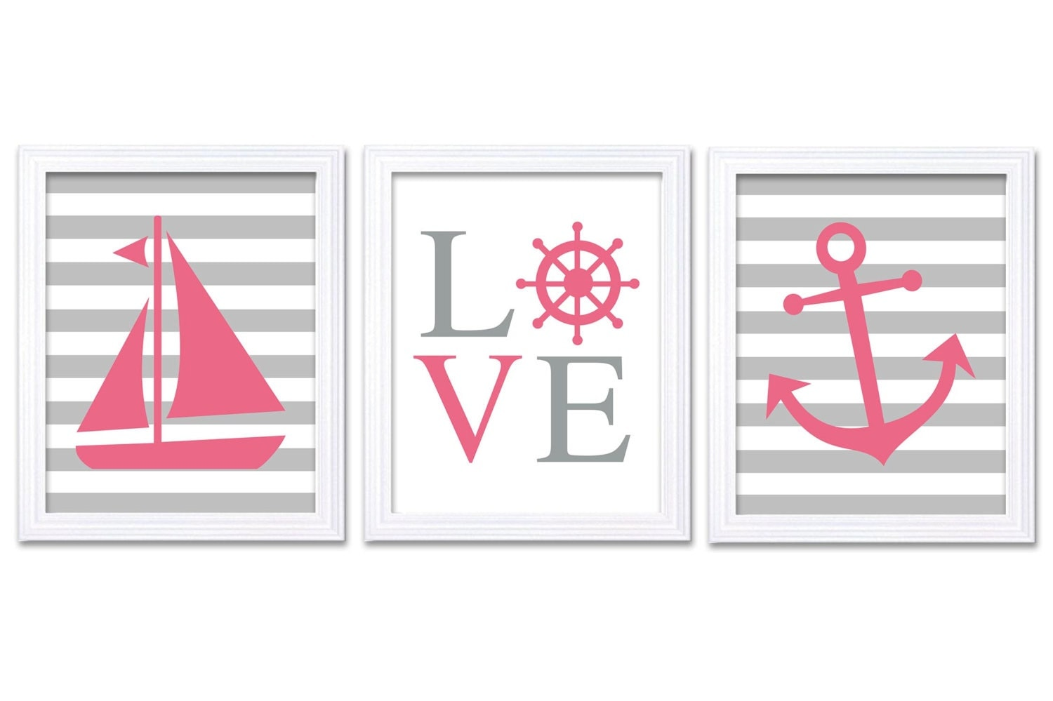 Pink Gray Grey Nautical Nursery Art LOVE Set of 3 Prints Stripes Child Art Kids Room Wall Art Baby G