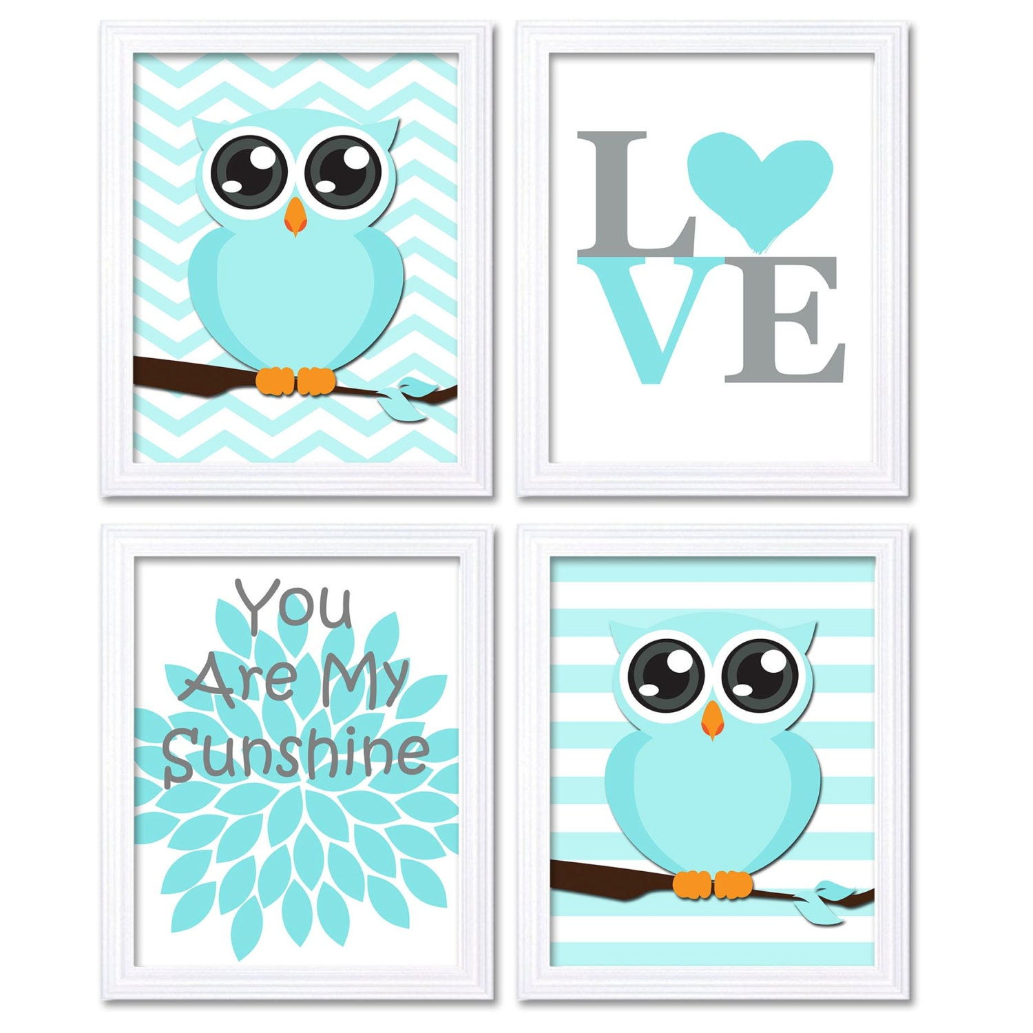 Baby Blue Gray Grey Brown Owl Nursery Art Set of 4 Prints LOVE You Are My Sunshine Stripes Chevron C