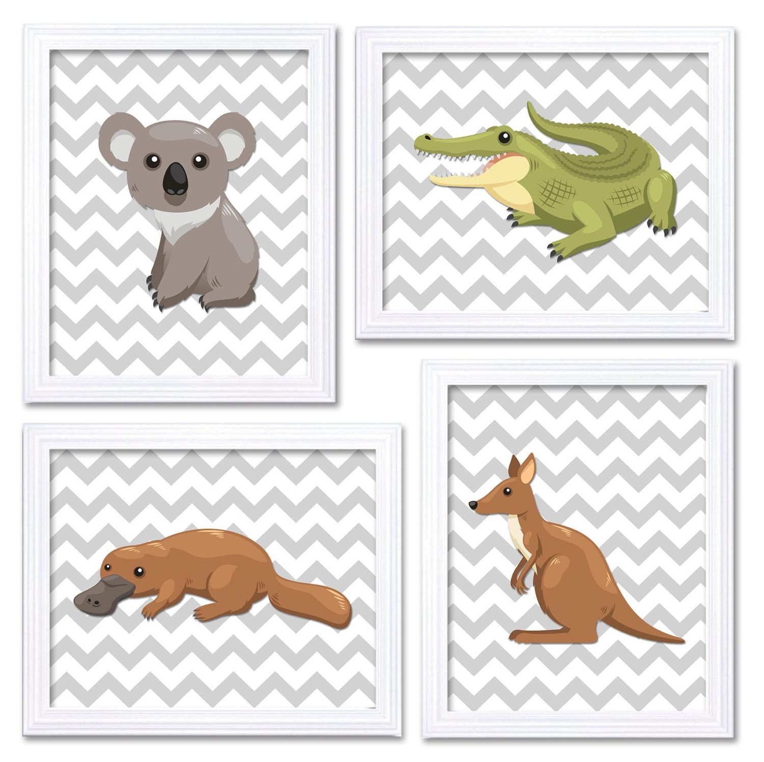 Australia Animals Kids Room Set of 4 Nursery Art Print Child Baby Wall Decor Kangaroo Koala Crocodil