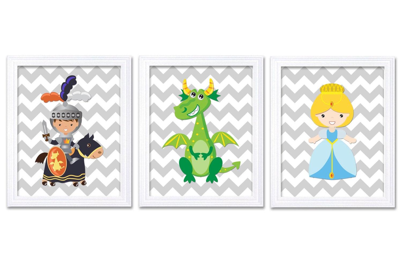 Fairy Tale Nursery Art Princess Prince Knight Dragon Prints Set of 3 Navy Blue Lime Green Grey Chevr