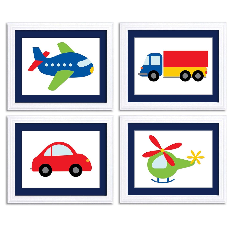 Transportation Nursery Art Set of 4 Print Colorful Red Navy Blue Green Yellow Child Kid Boy Room Wal