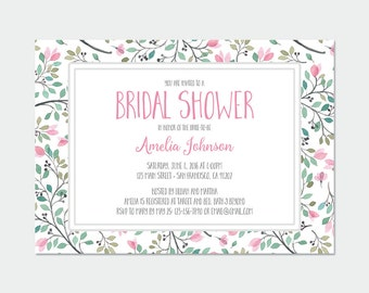 Bridal shower invitation - leaves printable pdf set in pink and green (A016)
