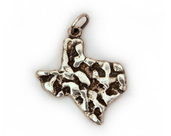 State of Texas Charm Sterling, Sterling Nugget Charm, Vintage Texas Charm, Retro Nugget Charm, Texas Sterling Nugget, Texas Bracelet Charm