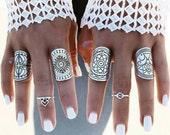 Adjustable Set of Four Mandala Rings, Antique Silver Alloy Tone, Boho Rings, Silver Rings, Gypsy Rings, Tibetan Silver Rings