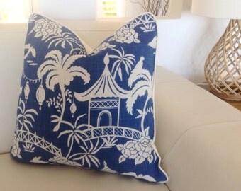 Linen Pillows Linen Cushions Blue & White Pagoda Cushions Cobalt Cushion Cover Turquoise Pillows Toss Pillows Cushions. Beach House Cushions