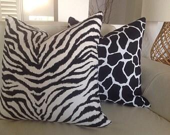 Cushion Black and White Cushion Cover Animal Print Scatter Cushions Giraffe and Zebra Print Decorative Urban Pillows