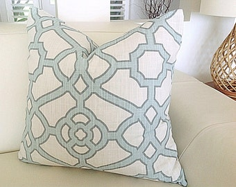 Cushions, Aqua Cushions Aqua Pillows, Modern Pillows, Cushion *Cover Only*. Pavilion Fretwork Pillow, Coastal Scatter Cushions, Geometric